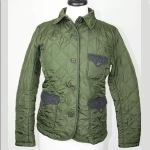 NEW Lands End Quilted Jacket Olive Green XS